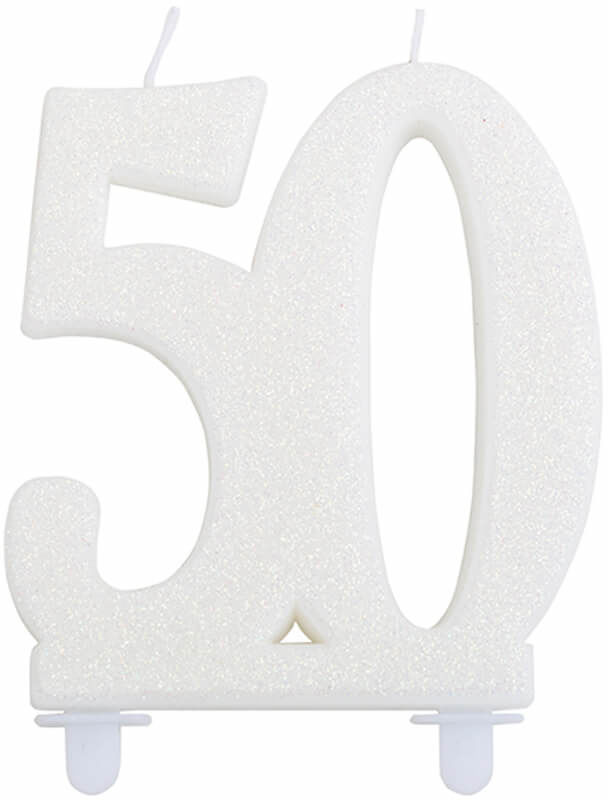 Brokatowa biała świeczka na 50-tkę - 1 szt.