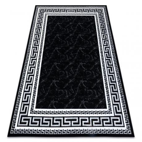 Dywan GLOSS nowoczesny 2813 87 stylowy, ramka, grecki czarny / szary 80x150 cm