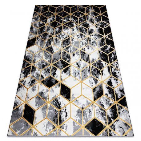 Dywan GLOSS 3D nowoczesny 409A 82 Sześcian, stylowy, glamour, art deco czarny / złoty / szary 80x150 cm