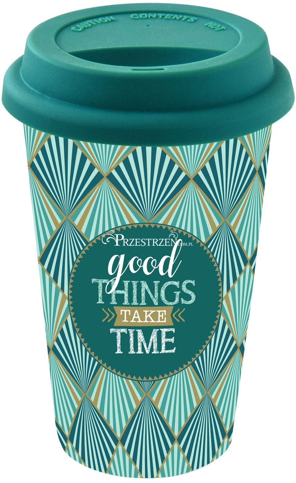 PORCELANOWY KUBEK PODRÓŻNY - Good Things Take Time - Z POKRYWKĄ 350 ml