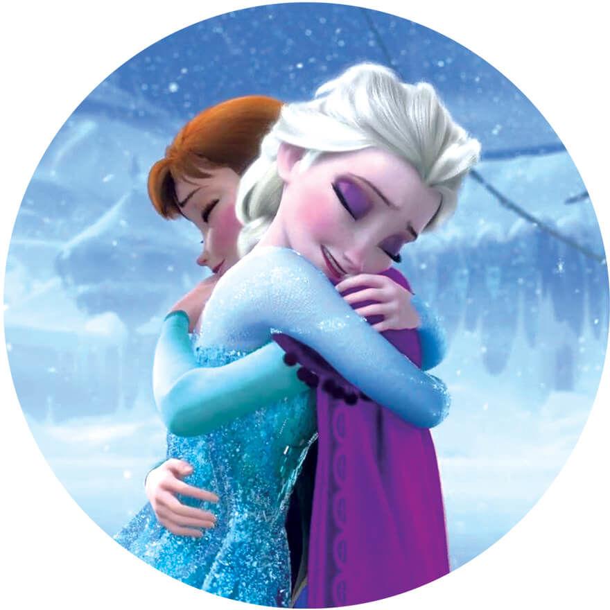 Dekoracyjny opłatek tortowy Frozen - Anna i Elsa - 20 cm
