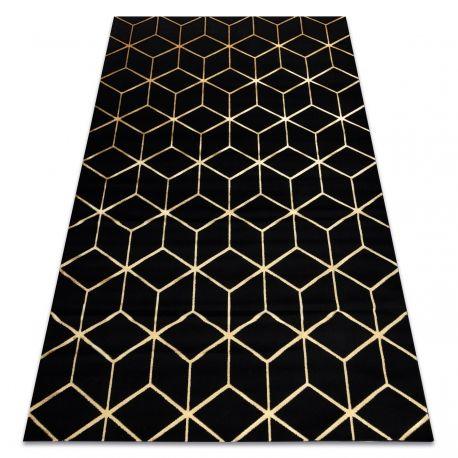 Dywan GLOSS 3D nowoczesny 409C 86 Sześcian, stylowy, glamour, art deco czarny / złoty 80x150 cm