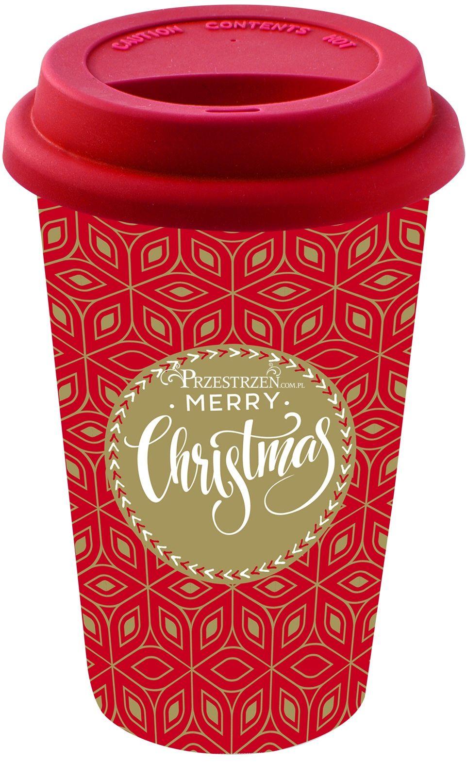 PORCELANOWY KUBEK PODRÓŻNY - Merry Christmas - Z POKRYWKĄ 350 ml