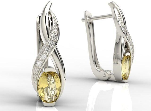 Kolczyki z białego złota z cytrynami i brylantami apk-69b