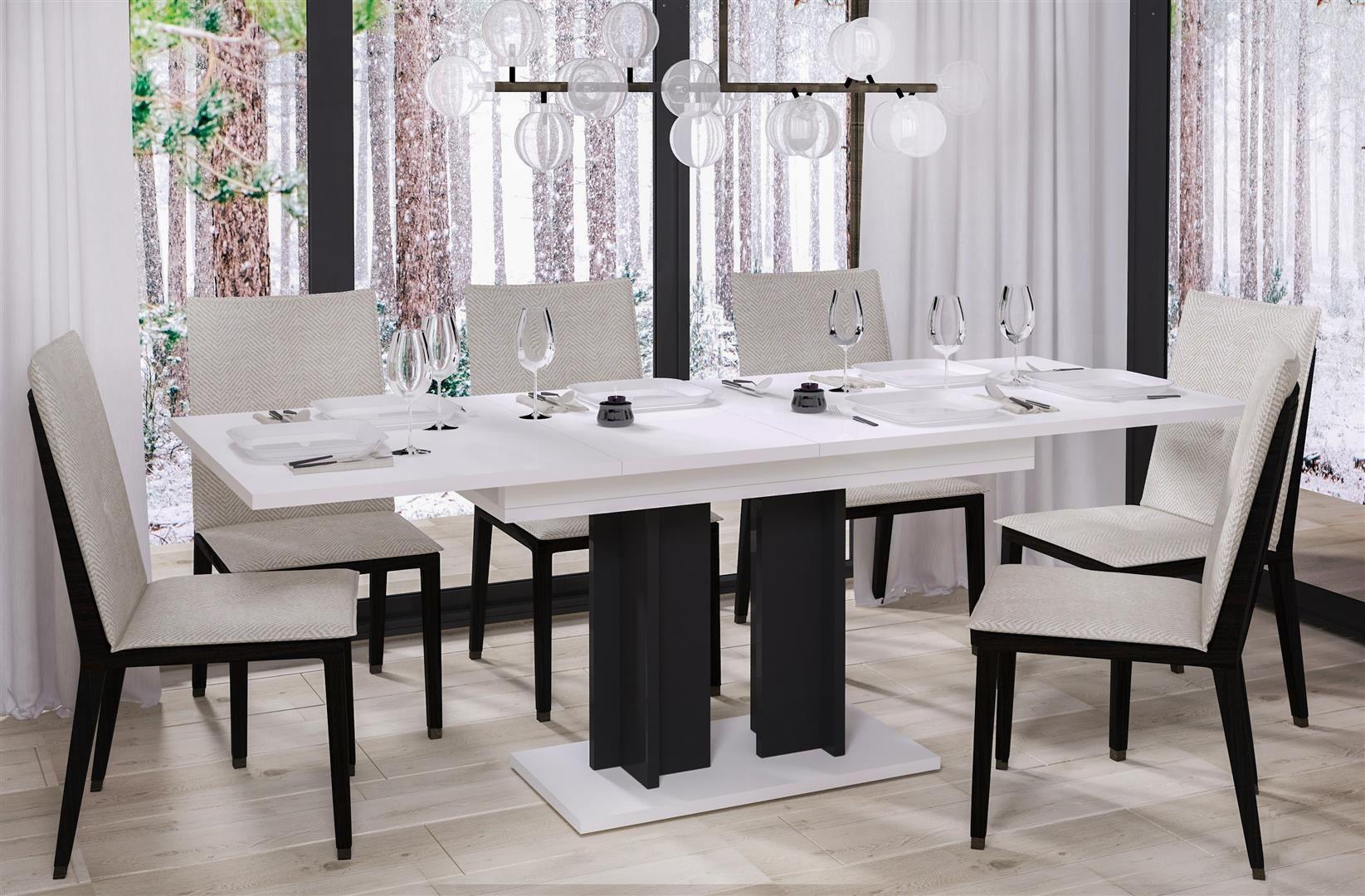 Kuchenny stół AURORA 130(210)x80 biały połysk rozkładany  KUP TERAZ - OTRZYMAJ RABAT