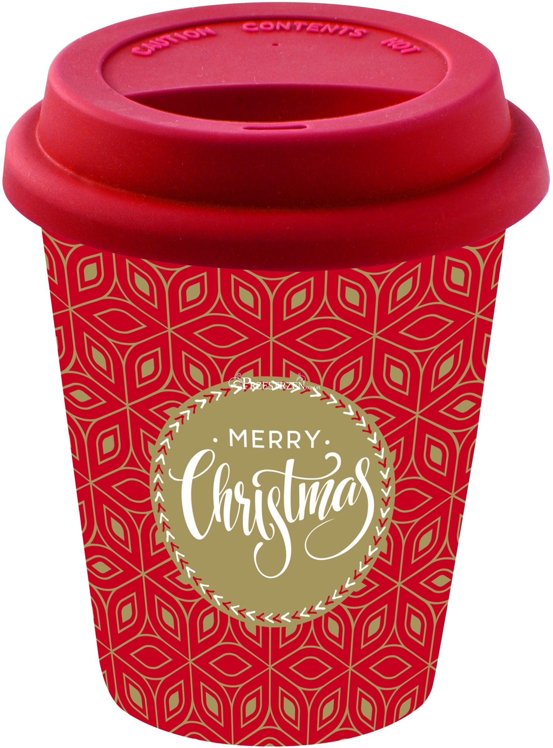 PORCELANOWY KUBEK PODRÓŻNY - Merry Christmas - Z POKRYWKĄ 220 ml
