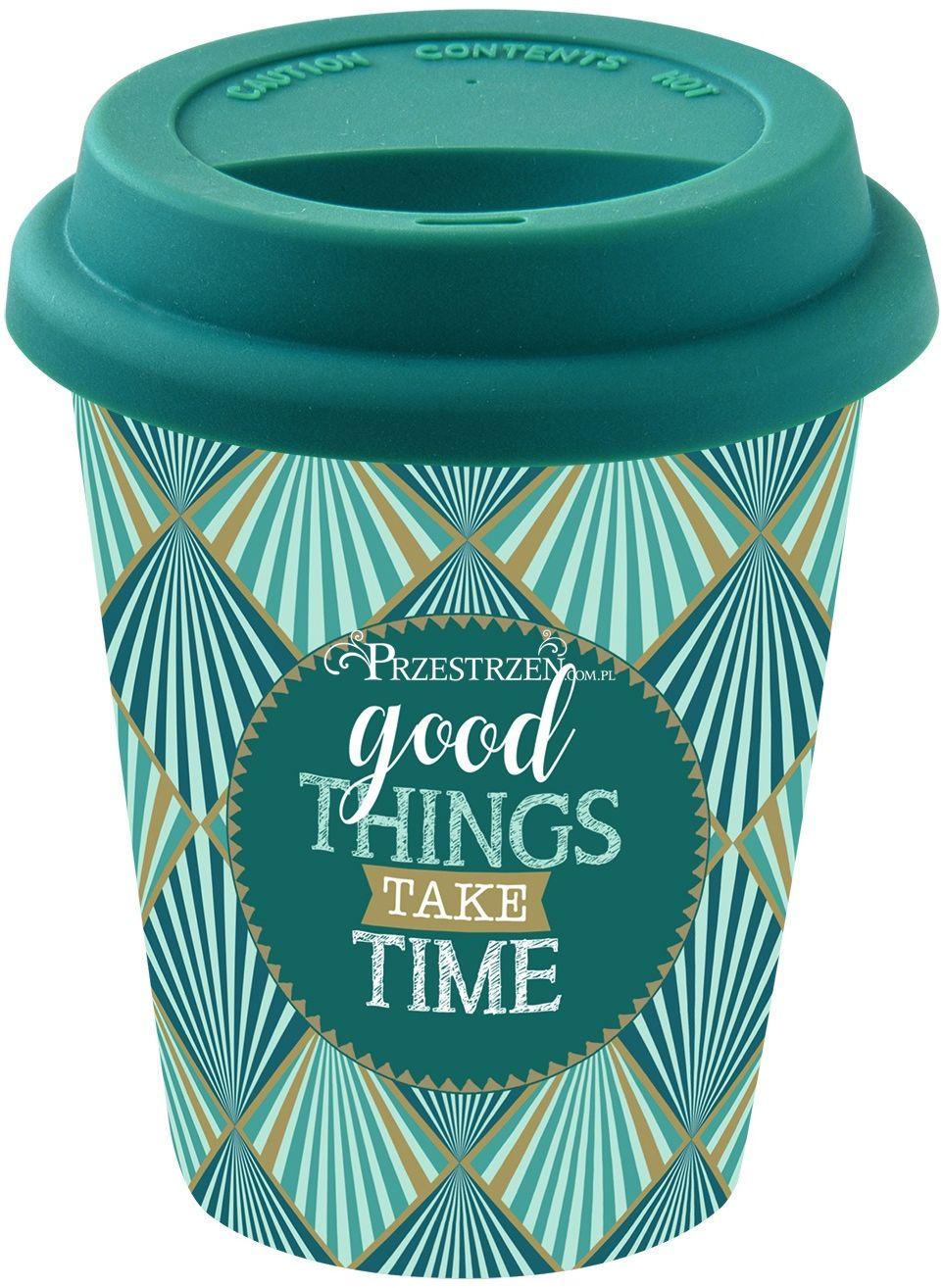 PORCELANOWY KUBEK PODRÓŻNY - Good Things Take Time - Z POKRYWKĄ 220 ml