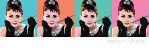 1art1 38953 Audrey Hepburn - Collage, pop Art plakat midi 91 x 30 cm