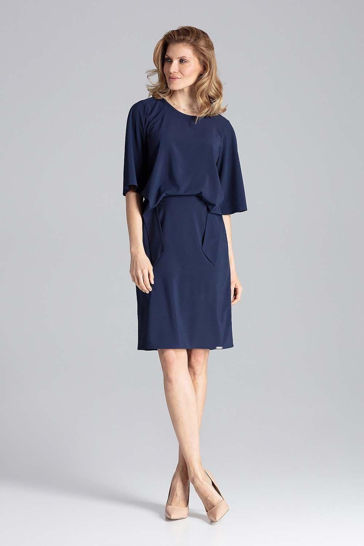 Granatowa sukienka przed kolana z wiązaniem w talii