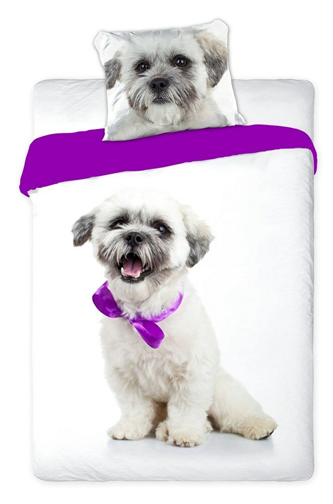 Pościel bawełniana 140x200 Pies słodki biały z fioletową kokardką 8255 Faro