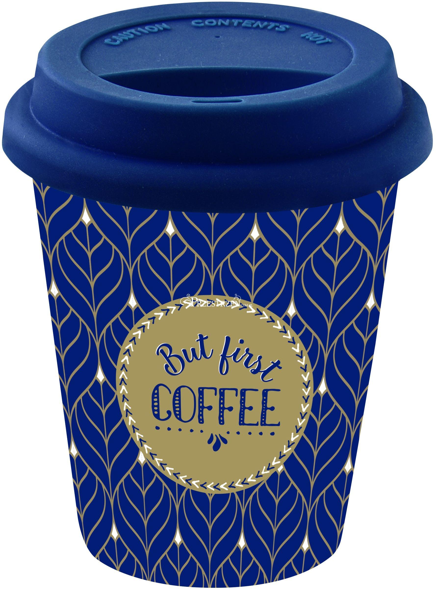 PORCELANOWY KUBEK PODRÓŻNY DO KAWY - But First Coffee - Z SILIKONOWĄ POKRYWKĄ 220 ml