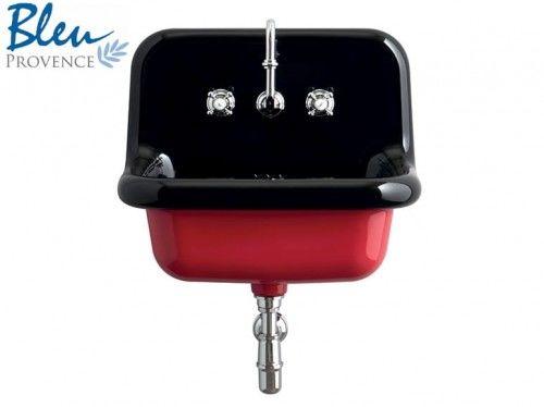 Umywalka /Zlewozmywak ceramiczny 60x68x50h cm czarny/czerwony True Colors BLEU PROVENCE