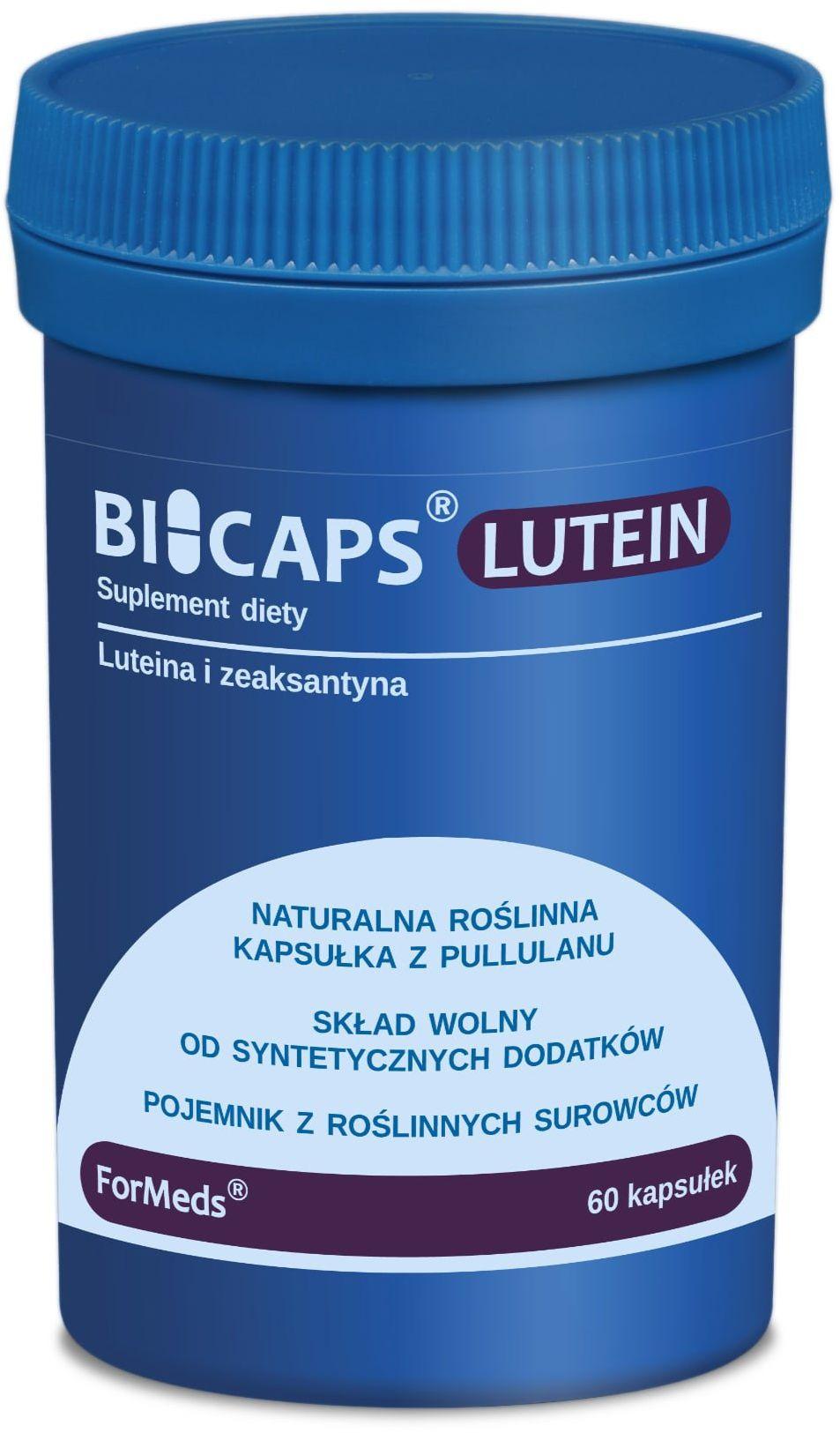 BICAPS LUTEIN Luteina 20mg Zeaksantyna 2 mg Wzrok Oczy (60 kaps) ForMeds