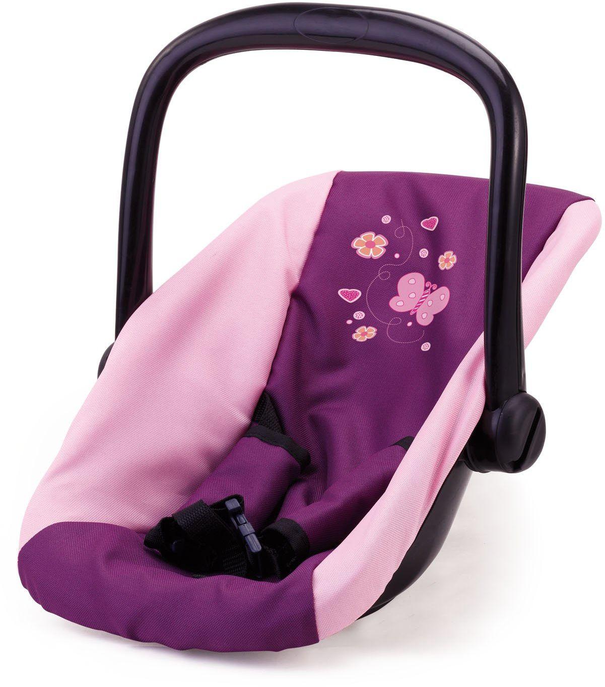 Bayer Design 67657AA fotelik samochodowy dla lalek, fioletowy/miękki różowy z motylem