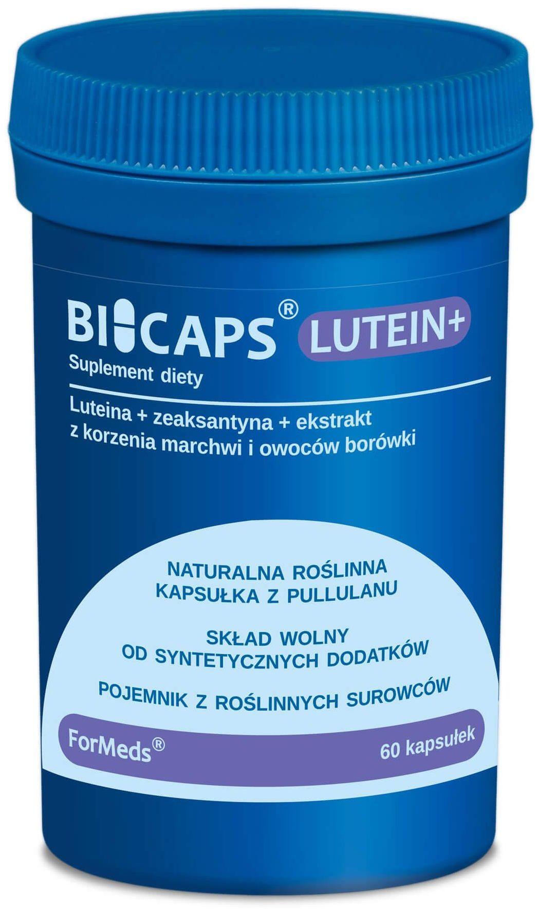 BICAPS LUTEIN+ Luteina 20 mg Zeaksantyna 2 mg + Witamina A Wzrok Oczy (60 kaps) ForMeds