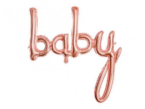 Balon foliowy napis Baby, różowe złoto