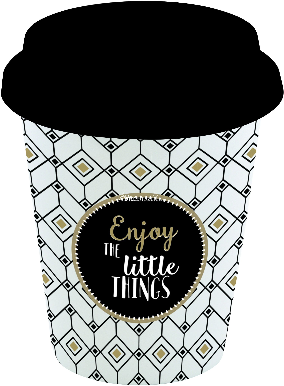 PORCELANOWY KUBEK PODRÓŻNY Z POKRYWKĄ - Enjoy the little things - 220 ml