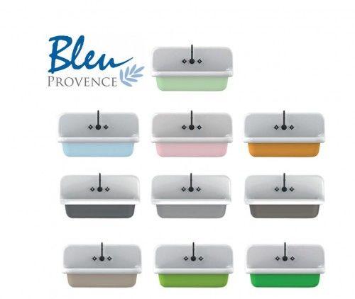 Zlewozmywak ceramiczny 60x68x50h cm BIAŁY + KOLOR True Colors BLEU PROVENCE