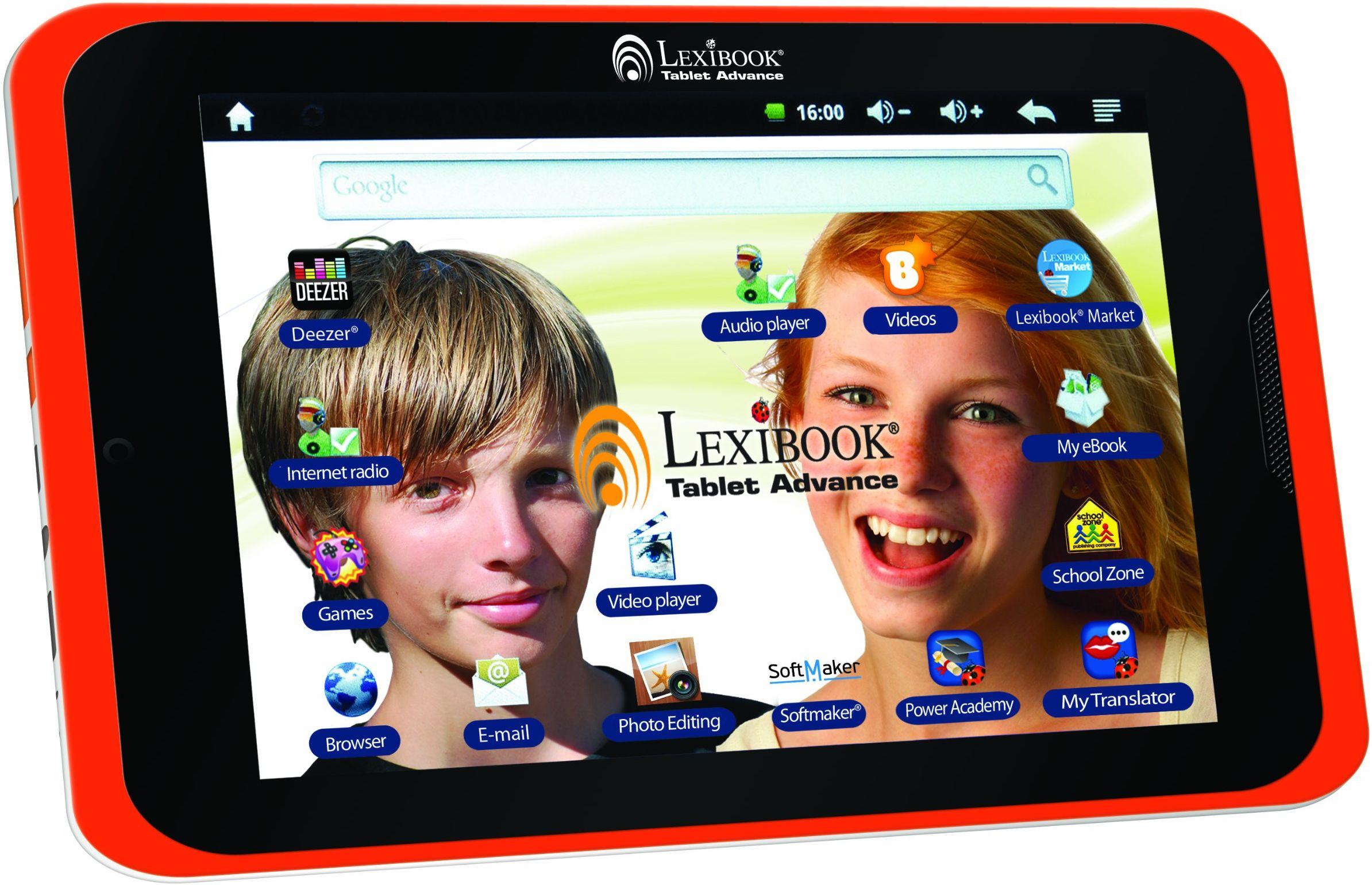 """Lexibook Tablet Advance  8"""" tablet do gier i nauki Android dla dzieci  bezpieczna przeglądarka internetowa, gry, e-booki, duży ekran 8"""", aparat  biały/pomarańczowy  MFC180EN"""