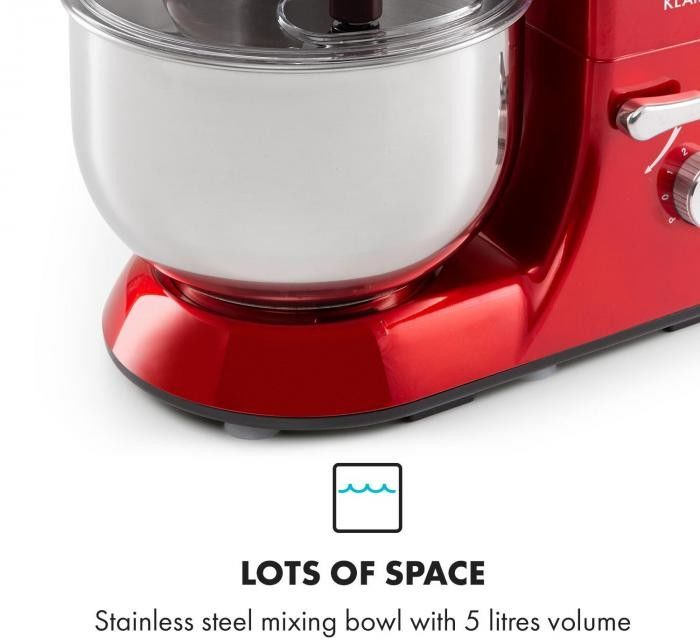 Klarstein Bella Elegance, robot kuchenny, 1300 W, 1,7 HP, 6 stopni, 5 litrów, czerwony