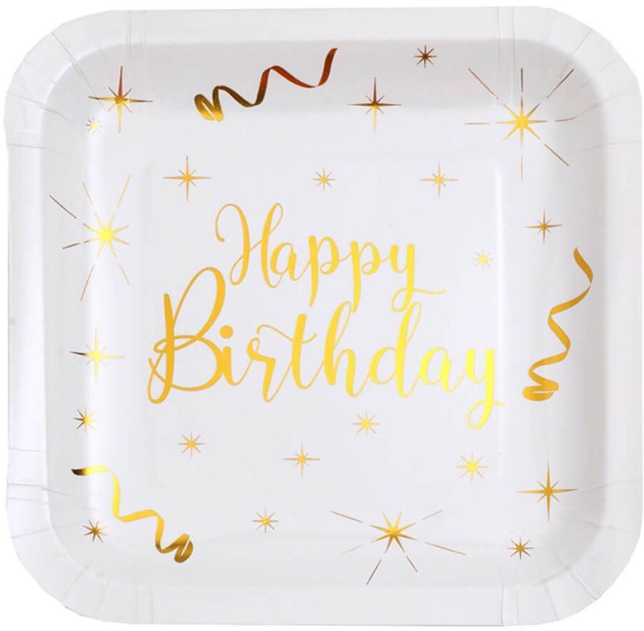 Talerzyki urodzinowe Happy Birthday kwadratowe - 23 cm - 10 szt.