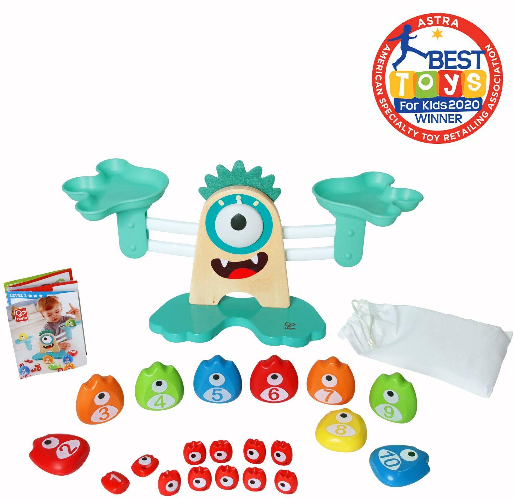 Hape E0511 waga matematyczna potwór  kolorowa, edukacyjna drewniana zabawka