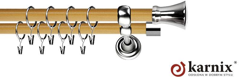 Karnisz Metalowy Prestige podwójny 19/19mm Monaco INOX - pinia