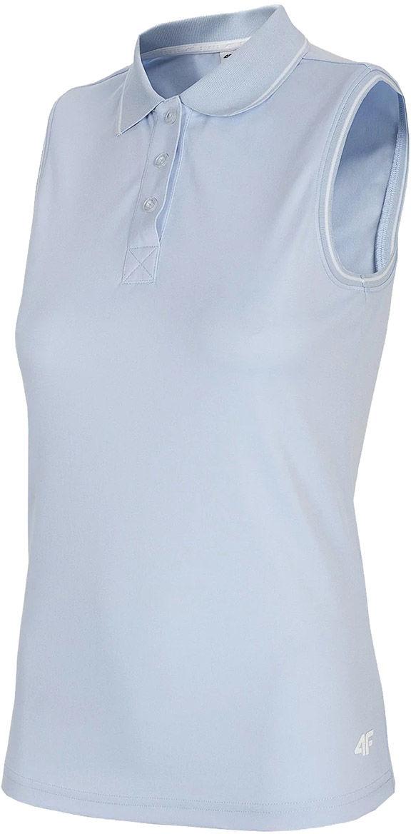 Koszulka funkcyjna polo damska bez rękawów 4F TSDF082 - jasny niebieski (H4L21-TSDF082-34S)