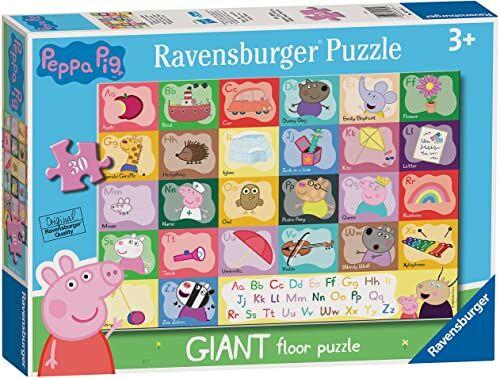 Ravensburger Świnka Peppa alfabet 24-częściowy gigantyczny puzzle podłogowe dla dzieci w wieku od 3 lat - wczesne uczenie się i rozwój