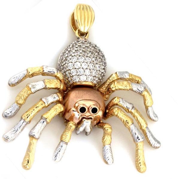 Złota przywieszka 585 trójkolorowy pająk 7.59g