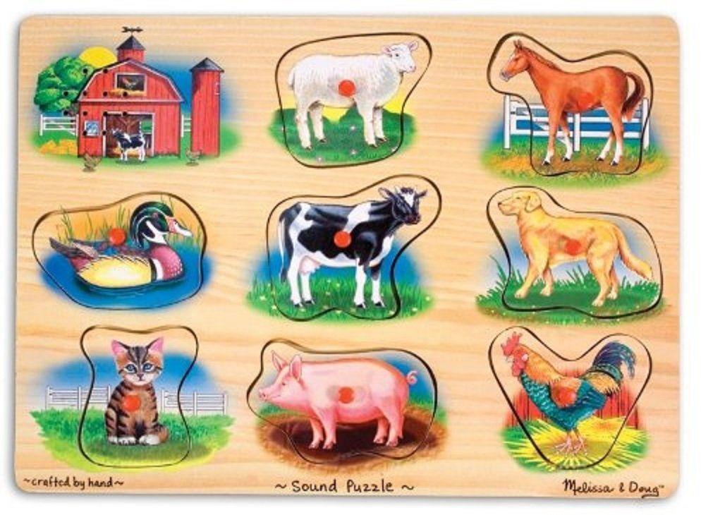 Melissa & Doug Klasyczna farma łamigłówki drewno 2+ Prezent dla chłopca lub dziewczynki