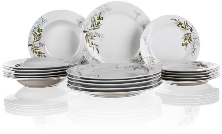Talerze porcelanowe Olives 18 części, BANQUET