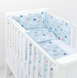MAMO-TATO Ochraniacz do łóżeczka 70x140 BEST Łabędzie błękitne / biały