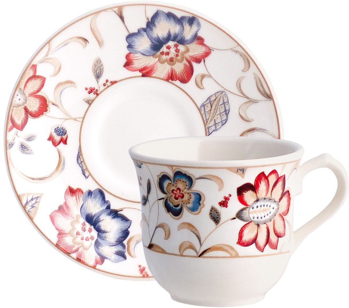Churchill B112039 kubki do herbaty z spodkami, zestaw 12 sztuk (6 filiżanek/6 spodków) porcelana, wielokolorowa