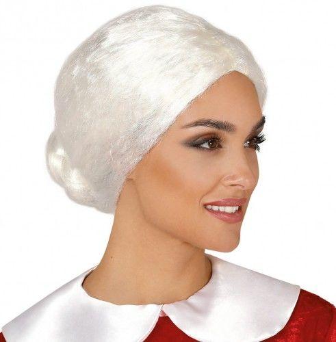 Peruka Babci, Pani Mikołajowej, białe włosy z kokiem