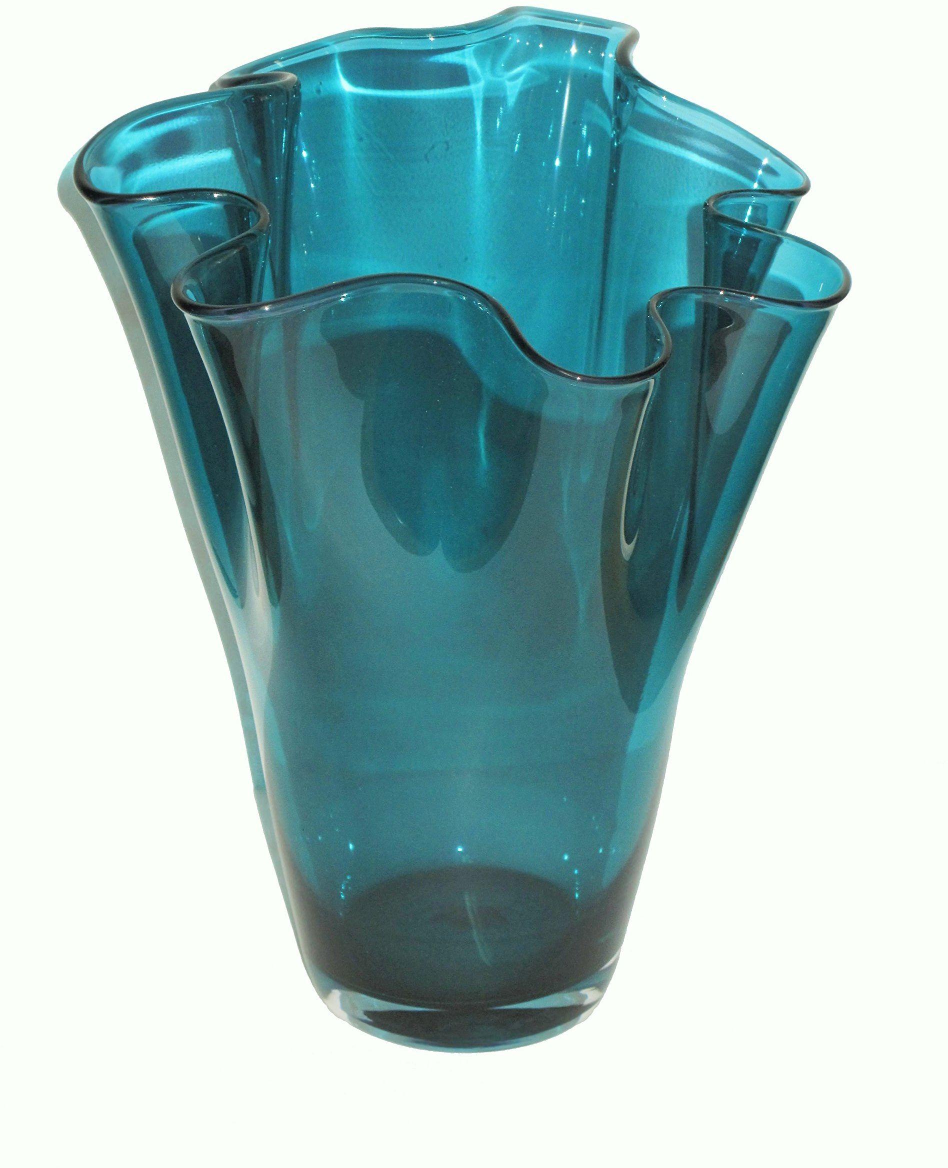SIGNATURE HOME COLLECTION Szklany wazon dmuchany ustnie wazon dekoracyjny wazon na kwiaty turkusowy, szkło, 21 x 21 x 30 cm