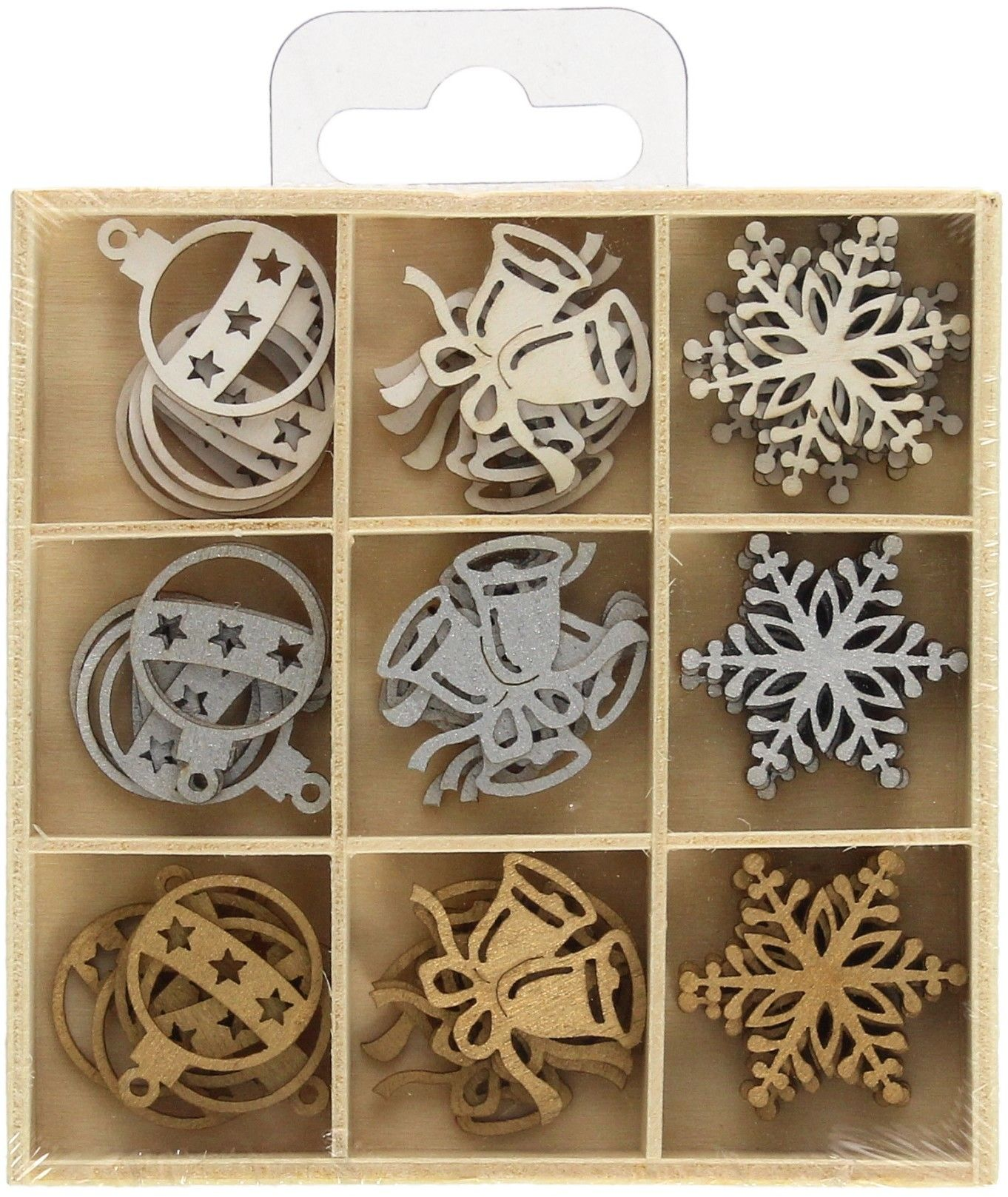 Zestaw drewnianych ozdób/zawieszek świątecznych komplet 45 sztuk