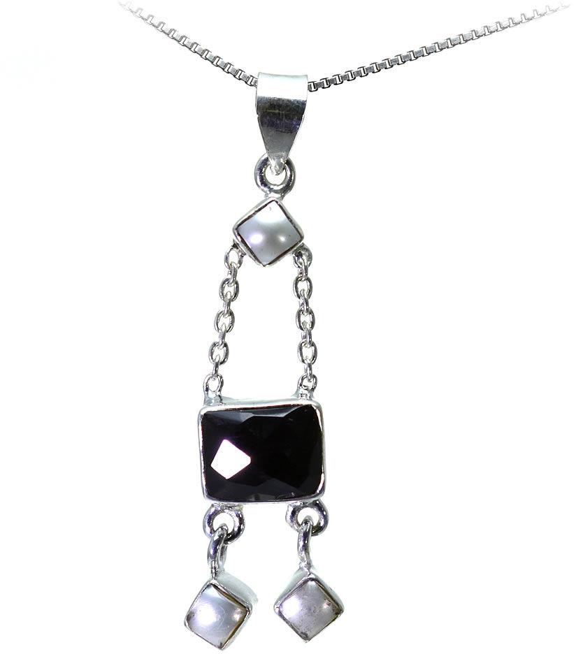 Kuźnia Srebra - Zawieszka srebrna, 47mm, Czarny Onyks, Perła, 5g, model