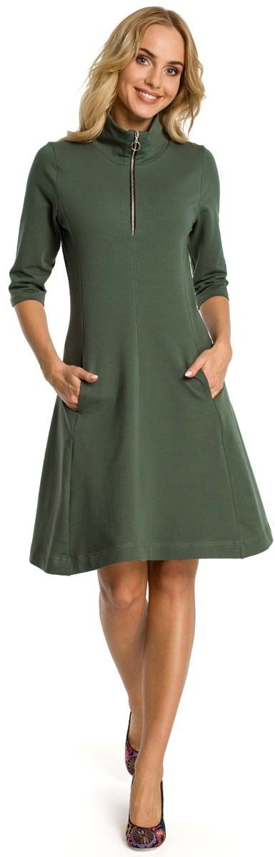 Khaki sukienka z półgolfem na suwak