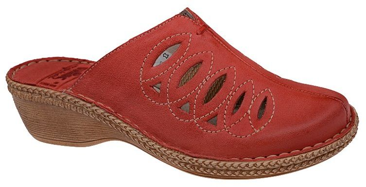 Klapki NIK 07-0128-005 Czerwone BioForm skórzane damskie