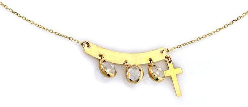 Złoty naszyjnik 585 blaszka z krzyżem cyrkonie 1,39 g