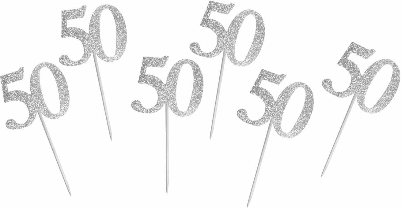 Pikery na muffiny na pięćdziesiątkę srebrne - 6 szt.