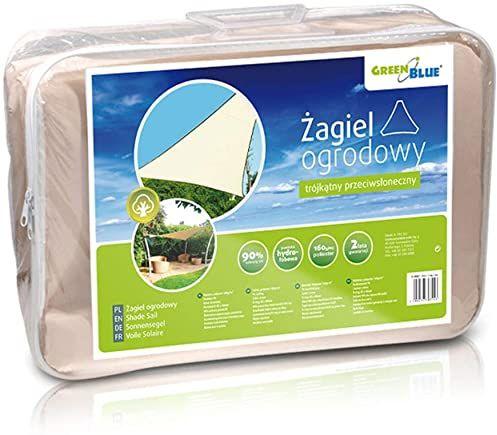 GreenBlue GB500 żagiel przeciwsłoneczny, ochrona przeciwsłoneczna, ochrona przed wiatrem, trójkąt przeciwsłoneczny, kremowy 3,6 m x 3,6 m x 3,6 m