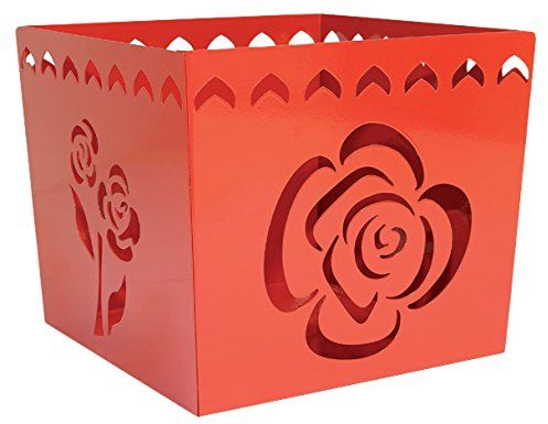 Alubox Kalì osłonka na doniczkę, stal nowoczesna, 26 x 26 x 23 cm, czerwona