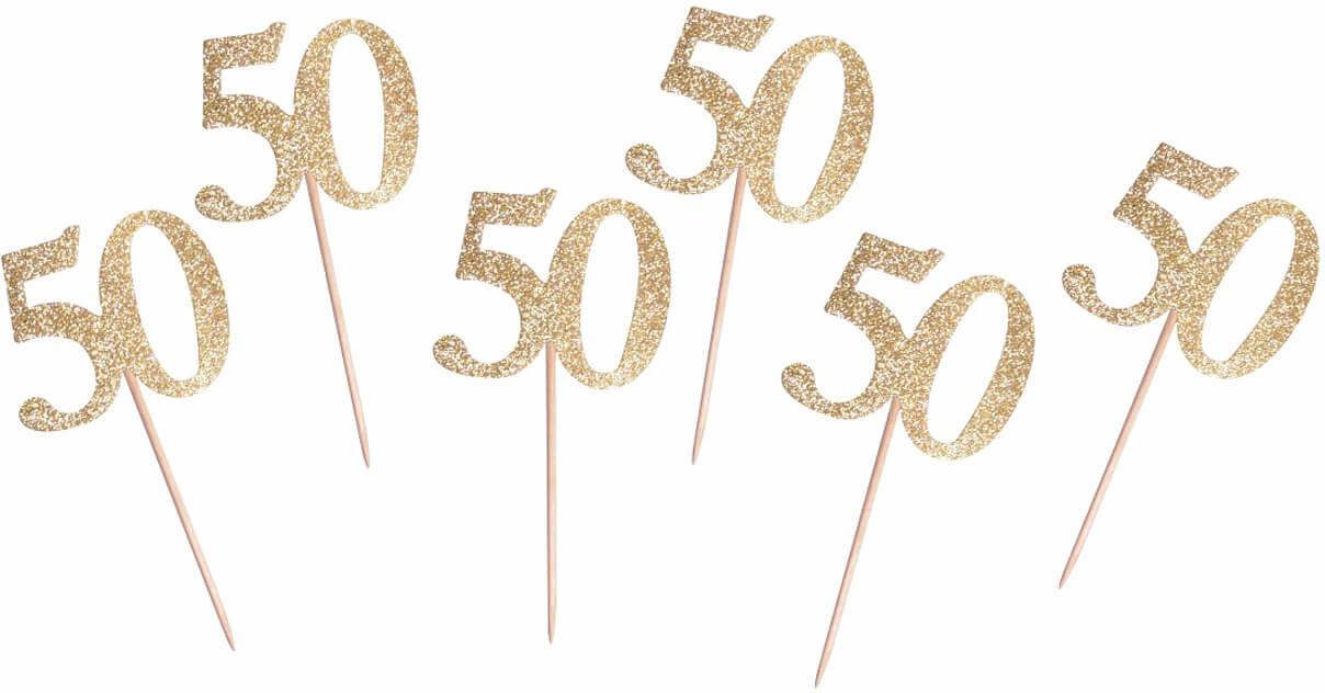 Pikery na muffiny na pięćdziesiątkę złote - 6 szt.