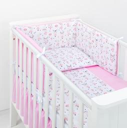 MAMO-TATO Ochraniacz do łóżeczka 70x140 BEST Zajączki białe / róż