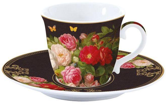 PORCELANOWA FILIŻANKA ze spodkiem DO KAWY HERBATY Victorian Garden - Kwiaty