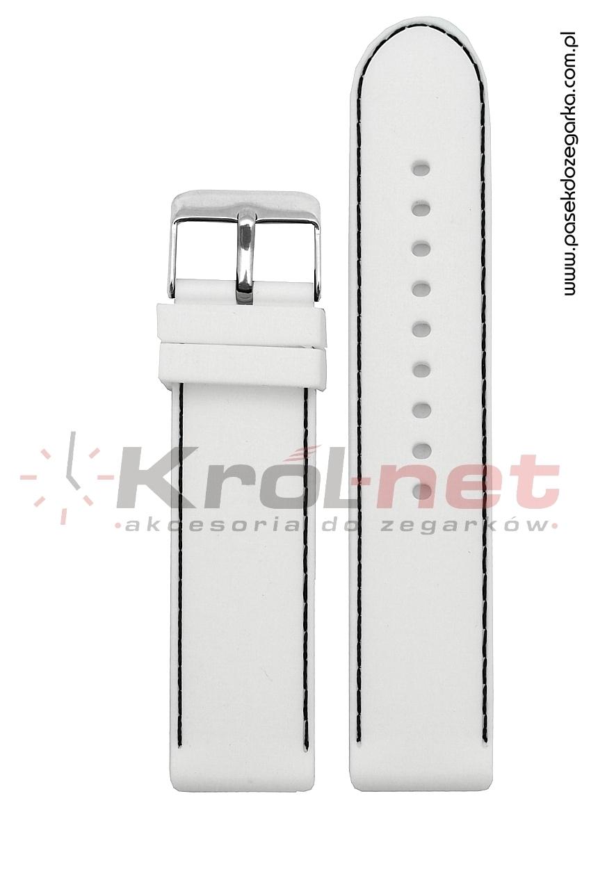 Pasek RP054B/C/22 - gładki, biały, przeszywany czarną nicią