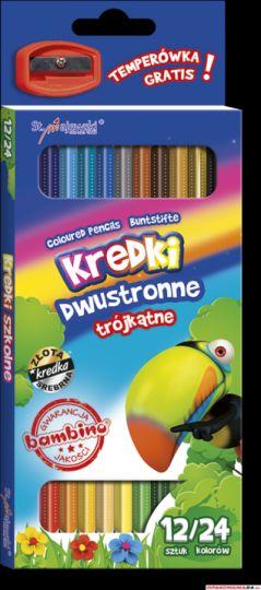 Kredki szkolne trójkąt. dwus. 12/24 kol+temp. 4940 ST.MAJEWSKI