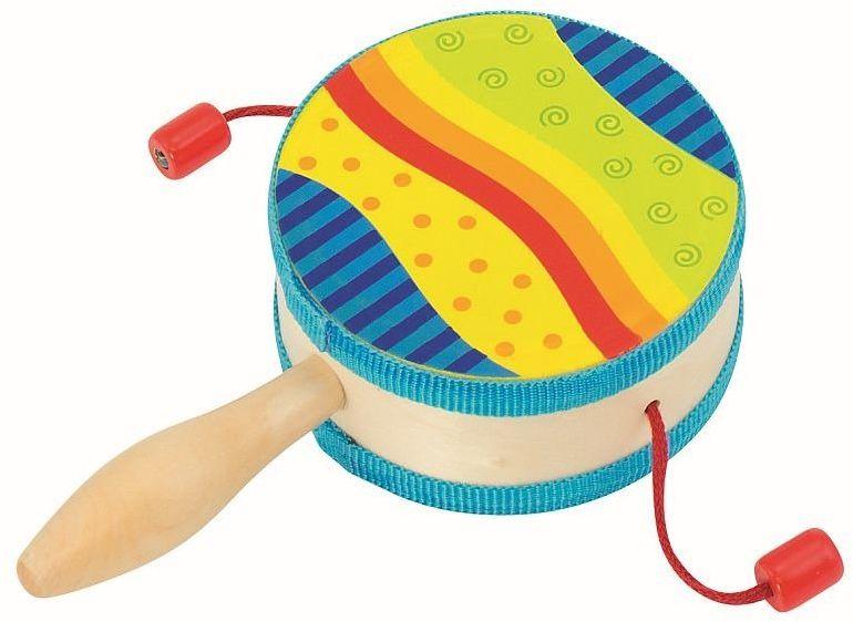 Bębenek z rączką i kulkami, Tęcza, 61916 - goki, instrumenty dla dzieci